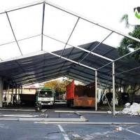 Progres pemasangan Tenda roder event Hut bayangkara 11 juli 2018 di Polda jatim (13)
